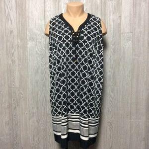 Black and White Printed Dress PLUS SIZE 2X